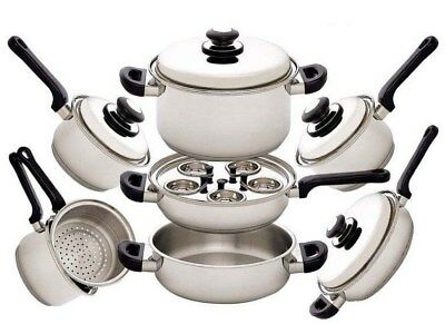 Surgical Stainless Steel Cookware Set 17 Pc. Piece Cooking Pot Pan