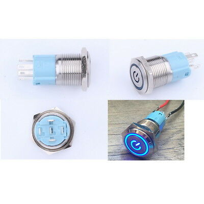 Auto LED Power Push Button Ein / Aus Metall Schalter wasserdicht 16mm 12V PD