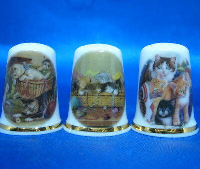 Fine Porcelain China Thimbles - Set Of Three Kittens In Baskets