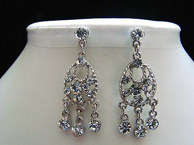Stylish Bridal Dangle Earrings Clear Australia Crystal E1131