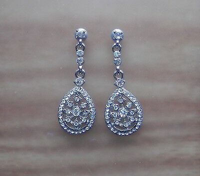Vintage Boho Style Drop Earring With Clear Australia Crystals E1304A