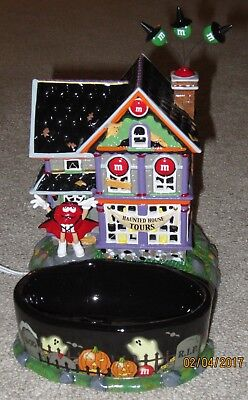 M&M lighted haunted house tours Halloween NEW Department 56 candy dish