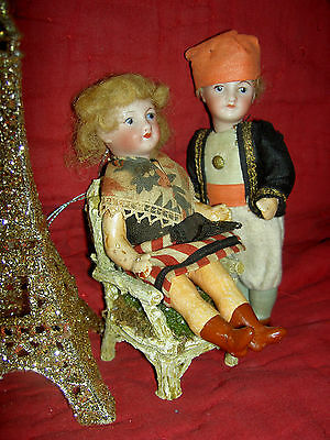 """PAIR 5"""" antique bisque signed Paris France Unis 301 jointed dollhouse dolls a/o"""