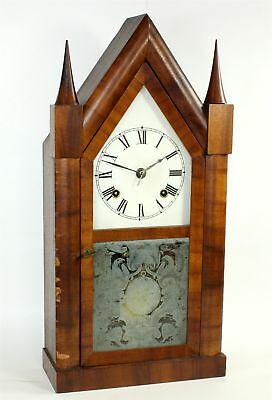 VINTAGE ANSONIA STEEPLE CLOCK in a POND and BARNES CASE - PARTS or REPAIR - BG75
