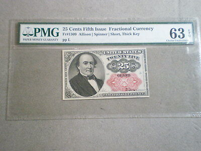 25-Cent Fractional Currency Note Choice Unc 63 Epq Pmg