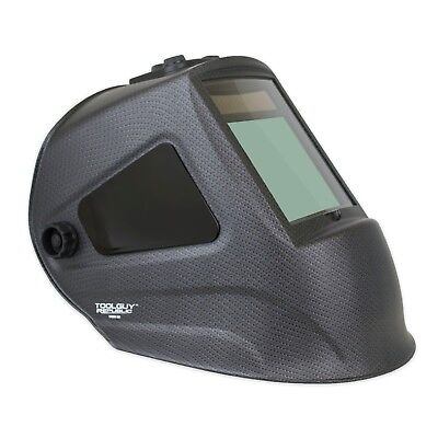 MATTE CARBON FIBER Extra Large View Auto Darkening Welding Helmet with SIDE VIEW