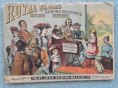 Victorian Trade Card Royal St John Sewing Machine Advertising  Colored Litho