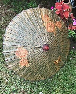 Pretty Vintage Oriental Paper Parasol Roses & Butterfly Colorful Wood Handle
