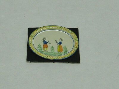 Dollhouse Miniature Hand Painted Quimper Oval Platter from England