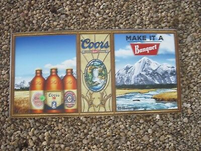 """2014 COORS Beer Sign, Very Light Weight, 24""""wide x 12""""tall, Good Used Cond."""