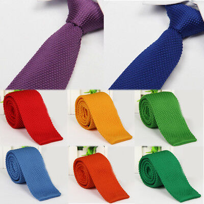 Men's Fashion Tie Knit Knitted Tie Slim Skinny Woven Solid High Quality Necktie