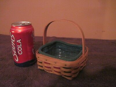 Small Longaberger Basket with Fabric & Plastic Liners, Red & Green Accent Colors