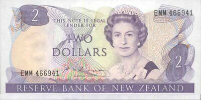 New Zealand Mint Scarce $2 Russell 2nd Last Signature Paper Banknote issue p170b