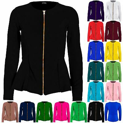 Plus Size Ladies Womens Tailored Zip Up Peplum Ruffle Frill Jacket Blazer Top