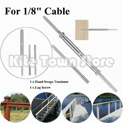 """T316 Stainless Steel Hand Swage Tensioner + Lag Screw for 1/8"""" Cable Railing US"""