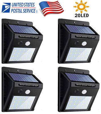 4PK 12LED Solar Power PIR Motion Sensor Garden Yard Wall Outdoor Path Light Lamp