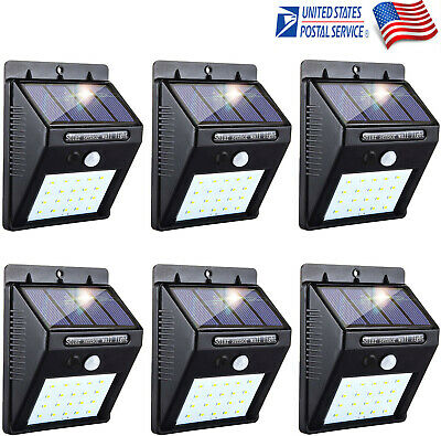 6X Solar Sensor Rechargeable LED Wall Light Outdoor Garden Lamp PIR Motion