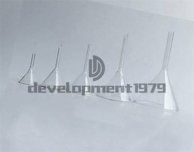 Laboratory Multiple Siz 30/40/50/60/75/90mm Short Stem Thick Clear Glass Funnel
