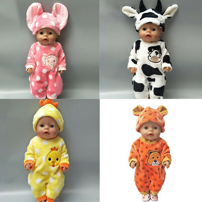 Handmade cute doll animal jumpsuit clothes with hat for 18 inch 43cm dolls