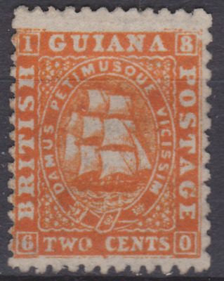 British Guiana 1863 Mint Mounted 2c Orange Thin Paper SG52 Cat £95