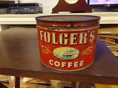 Vintage Folgers Coffee Tin Can - Mountain Grown - Drip Grind Coffee Tin -CR 1946