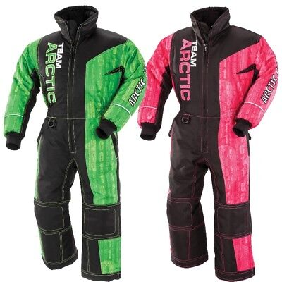 Arctic Cat Youth Child Team Arctic One-piece Winter Snowmobile Suit - Green Pink