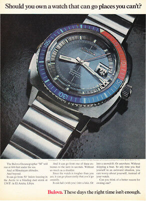 "1970 Bulova Oceanographer M Snorkel Watch photo ""Goes Where You Can't"" print ad"