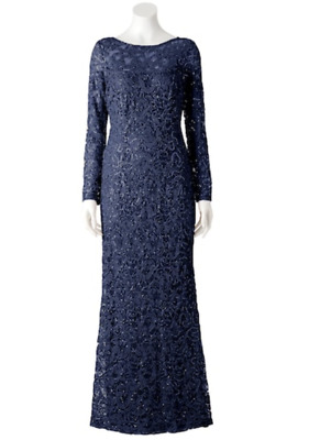 Marina Sequin Blue Navy Lace Evening Gown Floor Length Dress Mother of Groom