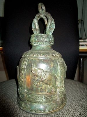 Old Thai Temple Bell, (Elephant And Cat) Bronze
