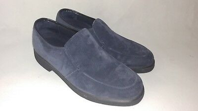 Womens Vintage HUSH PUPPIES Navy Blue Leather Suede Loafers Shoes 7