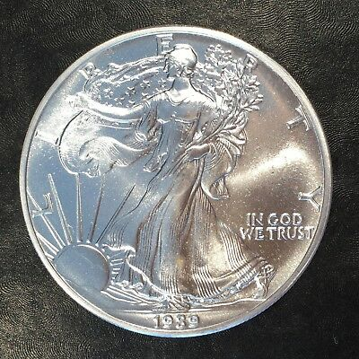 1989 Uncirculated American Silver Eagle US Mint Issue 1oz Pure Silver #G058
