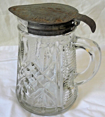 """Antique Crystal Etched Glass 4.5x3"""" Pitcher Metal Spring Lid Top Syrup Milk"""