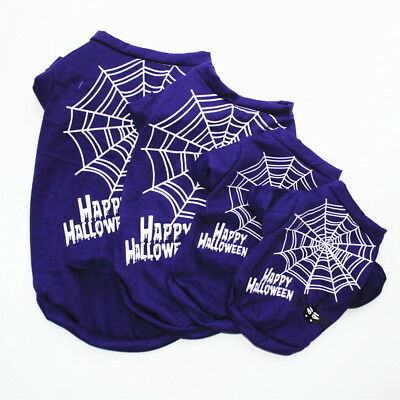 Halloween Pet Clothes Small Dog T-Shirt Tops Puppy Spider Web Apparel Costumes