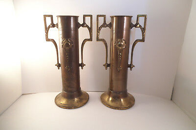 Vintage Pair of Copper Metal Two Handled Bud Vases Art Deco