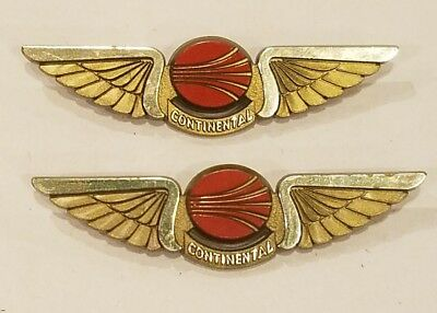 "Vintage Set 2 Continental Airlines Wings Pins 2.5"" plastic"