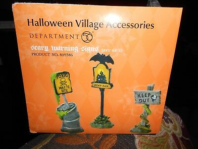 DEPT 56 HALLOWEEN VILLAGE Accessory SCARY WARNING SIGNS  NIB