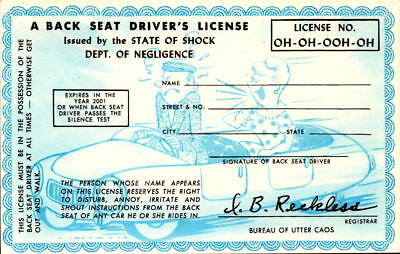 Back Seat Drivers License Party Supplies Greeting Cards & Party Supply