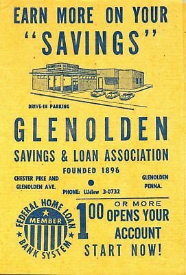 1950s Glenolden Savings & Loan, Pennsylvania - co-sham cleaning cloth