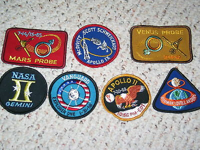 Set of 6 Vintage Space Exploration Patches Nasa Apollo    Free Shipping