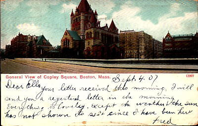 Postcard General View of Copley Square Boston Massachusetts 1907 Postmark