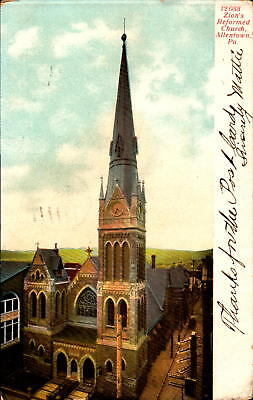 Postcard 12 033 Zion's Reformed Church Allentown Pennsylvania 1907 Postmark