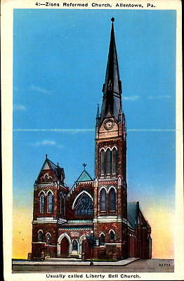 Postcard Zions Reformed Church Allentown PA Liberty Bell Church Unused