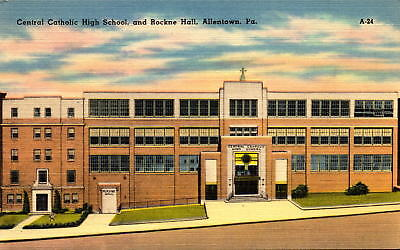 Postcard Central Catholic High School Rockne Hall Allentown PA Linen Unused