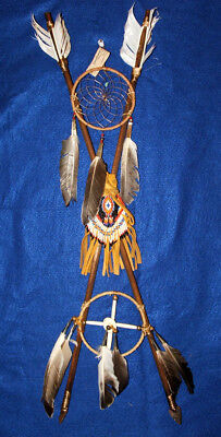 Crossed Arrow Wall Display w/ Medicine Wheel & Dreamcatcher Native American 02