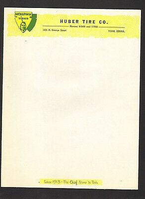 Lot of 10 Sheets of Unused Letterhead Mohawk Tires Huber Tire Co York PA Chief