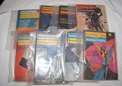 Lot of 8 Magazine of Fantasy and Science Fiction 1965-1975