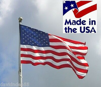 *USA MADE 3x5 AMERICAN US EMBROIDERED SEWN 600D NYLON Outdoor FLAG w/GIFT BOX
