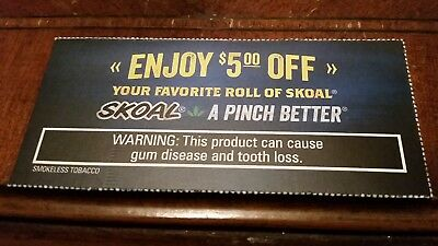 COUPON: $5 Off A Roll Of Skoal Chewing Tobacco  Exp  10/05/18