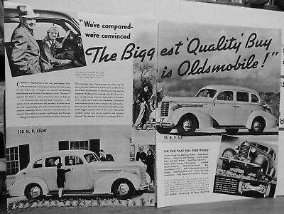 1937 two page magazine ad for Oldsmobile - 110 H.P. Eight, 95 H.P. Six, Quality