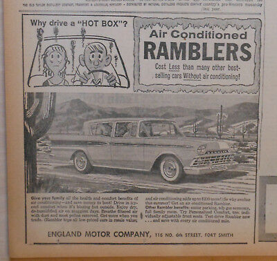 1959 newspaper ad for Rambler - Air Conditioned, why drive a hot box?